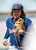 31 May 2018: New Hampshire Fisher Cats third baseman Vladimir Guerrero Jr. returns to the dugout during a game against the Portland Sea Dogs at Northeast Delta Dental Stadium in Manchester, NH. The Sea Dogs defeated the Fisher Cats 12-9 in extra innings. Mandatory Credit: Ed Wolfstein Photo *** RAW (NEF) Image File Available ***