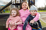 Enjoying the playground in the Tralee town park on Friday, l to r: Grace Ennis with Mia and Max Molloy