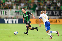 AUSTIN, TX - JUNE 19: Tomas Pochettino #7 of Austin FC brings the ball up the field during a game between San Jose Earthquakes and Austin FC at Q2 Stadium on June 19, 2021 in Austin, Texas.