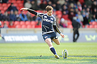 20130310 Copyright onEdition 2013©.Free for editorial use image, please credit: onEdition..Danny Cipriani takes a penalty kick during the LV= Cup semi final match between Sale Sharks and Saracens at the Salford City Stadium on Sunday 10th March 2013 (Photo by Rob Munro)..For press contacts contact: Sam Feasey at brandRapport on M: +44 (0)7717 757114 E: SFeasey@brand-rapport.com..If you require a higher resolution image or you have any other onEdition photographic enquiries, please contact onEdition on 0845 900 2 900 or email info@onEdition.com.This image is copyright onEdition 2013©..This image has been supplied by onEdition and must be credited onEdition. The author is asserting his full Moral rights in relation to the publication of this image. Rights for onward transmission of any image or file is not granted or implied. Changing or deleting Copyright information is illegal as specified in the Copyright, Design and Patents Act 1988. If you are in any way unsure of your right to publish this image please contact onEdition on 0845 900 2 900 or email info@onEdition.com