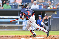 Rome Braves Michael Harris (2) swings at a pitch during a game against the Asheville Tourists at McCormick Field on August 12, 2019 in Asheville, North Carolina. The Tourists defeated the Braves 11-6. (Tony Farlow/Four Seam Images)