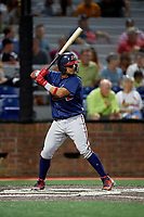 Danville Braves catcher Ricardo Rodriguez (49) at bat during a game against the Johnson City Cardinals on July 28, 2018 at TVA Credit Union Ballpark in Johnson City, Tennessee.  Danville defeated Johnson City 7-4.  (Mike Janes/Four Seam Images)