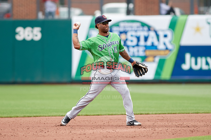 Gwinnett Stripers second baseman Danny Santana (15) throws to first base during a game against the Columbus Clippers on May 17, 2018 at Huntington Park in Columbus, Ohio.  Gwinnett defeated Columbus 6-0.  (Mike Janes/Four Seam Images)
