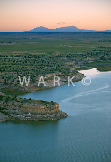 Lake Pueblo and Spanish Peaks at sunset.  Sept 2013. 84004