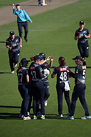 The White Ferns celebrate Amy Satterthwaite's catch of Sarah Dunkley during the 3rd international women's T20 cricket match between the New Zealand White Ferns and England at Sky Stadium in Wellington, New Zealand on Sunday, 7 March 2021. Photo: Dave Lintott / lintottphoto.co.nz