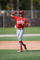 GCL Cardinals shortstop Delvin Perez (15) throws to first base during a game against the GCL Mets on July 23, 2017 at Roger Dean Stadium Complex in Jupiter, Florida.  GCL Cardinals defeated the GCL Mets 5-3.  (Mike Janes/Four Seam Images)