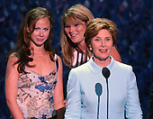New York, NY - August  31, 2004 -- First Lady Laura Bush, right, and her daughters Jenna, center, and Barbara, right, do a microphone check prior to their scheduled speeches at the 2004 Republican National Convention in Madison Square Garden in New York, New York, on Tuesday, August 31, 2004..Credit: Ron Sachs / CNP                           .(RESTRICTION: No New York Metro or other Newspapers within a 75 mile radius of New York City)