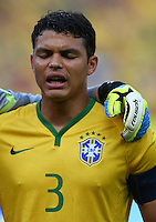 Thiago Silva of Brazil sings his sides national anthem