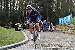 Gianni Moscon (ITA) Ineos Grenadiers attacks over the Muur van Geraardsbergen during the 76th edition of Omloop Het Nieuwsblad 2021 running 200km from Gent to Ninove, Belgium. 27th February 2021  <br /> Picture: Serge Waldbillig | Cyclefile<br /> <br /> All photos usage must carry mandatory copyright credit (© Cyclefile | Serge Waldbillig)