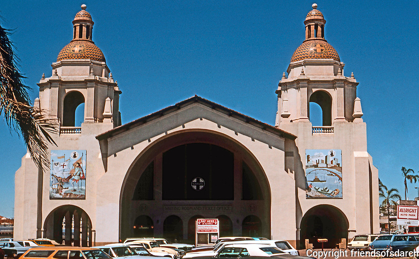 San Diego: Santa Fe Depot, 1915. Mission Revival. Bakewell & Brown, Architects. (Photo '76)