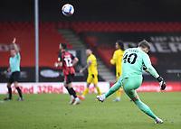 13th March 2021; Vitality Stadium, Bournemouth, Dorset, England; English Football League Championship Football, Bournemouth Athletic versus Barnsley; Bradley Collins of Barnsley takes a long free kick