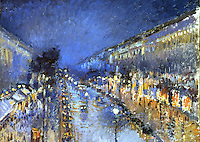 """Paris: Painting of """"The Boulevard of Montmartre at Night"""" by Camille Pissarro. Reference only."""