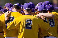 Billy Walling #2 of the East Carolina Pirates huddles with his teammates before they take on the Virginia Cavaliers at Clark-LeClair Stadium on February 20, 2010 in Greenville, North Carolina.   Photo by Brian Westerholt / Four Seam Images