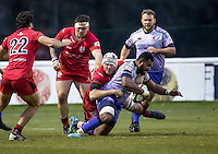 during the British & Irish Cup match between London Scottish Football Club and Jersey Reds at Richmond Athletic Ground, Richmond, United Kingdom on the 10th December 2016. Photo by Liam McAvoy.