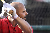 Albert Pujols #5 of the Los Angeles Angels takes batting practice before a game against the Baltimore Orioles at Angel Stadium on April 20, 2012 in Anaheim,California. Los Angeles defeated Baltimore 6-3.(Larry Goren/Four Seam Images)