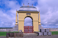 Fortress of Louisbourg National Historic Site (NHS), Cape Breton Island, NS, Nova Scotia, Canada - Frederic Gate at Reconstructed 18th Century French Fortified Town