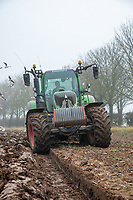 Ploughing ahead of wheat drill - Lincolnshire, November
