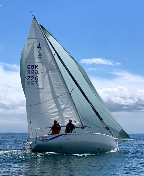 Hanging in there - Paul Reilly and Davy Howard on the edge of reality with double-handed sailing and everything set on a J/80 in the successful Aqua Two-Handed Challenge 2020 at Howth