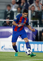 Football Soccer: UEFA Champions UEFA Champions League quarter final first leg Juventus-Barcellona, Juventus stadium, Turin, Italy, April 11, 2017. <br /> Barcellona's Luis Suarez in action during the Uefa Champions League football match between Juventus and Barcelona at the Juventus stadium, on April 11 ,2017.<br /> UPDATE IMAGES PRESS/Isabella Bonotto
