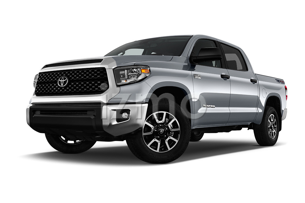 Stock pictures of low aggressive front three quarter view of a 2018 Toyota Tundra SR5 5.7L Crew Max 4WD Short Bed 4 Door Pick Up