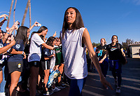 PASADENA, CA - AUGUST 3: Christen Press #23 enters the stadium during a game between Ireland and USWNT at Rose Bowl on August 3, 2019 in Pasadena, California.