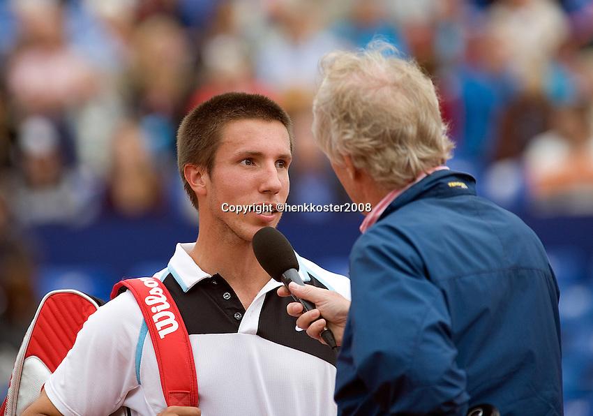 15-7-08, Amersfoort, Tennis, Dutch Open, Igor Sijsling wordt geinterviewd door Jack van der Voorn