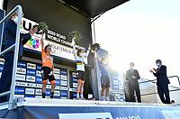 Picture by Simon Wilkinson/SWpix.com - 26/09/2020 - Cycling - UCI 2020 Road World Championships IMOLA - EMILIA-ROMAGNA ITALY - Road Race Women Elite - Annemiek Van Vleuten of The Netherlands, Anna Van Der Breggen of The Netherlands and Elisa Longo Borghini of Italy on the podium after the Women's Elite Road Race. - SANTINI