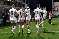 2nd January 2021 | Ulster vs Munster <br /> <br /> Matt Faddes is congratulated after scoring Ulster's first try during the PRO14 Round 10 clash between Ulster Rugby and Munster Rugby at the Kingspan Stadium, Ravenhill Park, Belfast, Northern Ireland. Photo by John Dickson/Dicksondigital