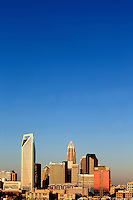 Skyline photography of the Charlotte NC downtown skyline. Photo, taken from the south side of Charlotte, is part on a regularly updated collection of Charlotte skyline imagery. This photo was taken in December 2012. Image shows the Duke Energy headquarters tower (far left) and the Bank of America tower (center) as well as other key structures in the Charlotte NC skyline
