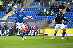 St Johnstone v Dundee…02.10.21  McDiarmid Park.    SPFL<br />Chris Kane scores to put saints 1-0 up<br />Picture by Graeme Hart.<br />Copyright Perthshire Picture Agency<br />Tel: 01738 623350  Mobile: 07990 594431