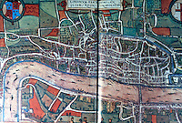 """London: Circa 1550. From Civitases Orbis Terrarum, Germany, 1572. """"The map is a true plan..."""" Philippa Glanville, LONDON IN MAPS, 1972.   Reference only."""