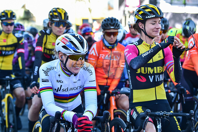 World Champion Anna Van Der Breggen (NED) Team SD Worx and Marianne Vos (NED) Jumbo-Visma Women Cycling Team line up for the start of Liege-Bastogne-Liege Femmes 2021, running 141km from Bastogne to Liege, Belgium. 25th April 2021.  <br /> Picture: A.S.O./Gautier Demouveaux   Cyclefile<br /> <br /> All photos usage must carry mandatory copyright credit (© Cyclefile   A.S.O./Gautier Demouveaux)