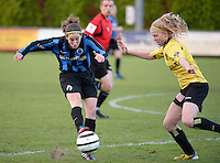20140502 - VARSENARE , BELGIUM : Brugge's Lore Dezeure (l) pictured with Lierse's Merel Groenen (r)  during the soccer match between the women teams of Club Brugge Vrouwen  and WD Lierse SK  , on the 26th matchday of the BeNeleague competition on Friday 2 May 2014 in Varsenare .  PHOTO DAVID CATRY
