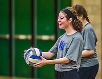 1 November 2015: Yeshiva University Maccabee Outside Hitter, Setter, and team co-Captain Shana Wolfstein, a Senior from Burlington, VT, warms up prior to facing the Old Westbury Panthers at SUNY Old Westbury in Old Westbury, NY. The Panthers edged out the Maccabees 3-2 in NCAA women's volleyball, Skyline Conference play. Mandatory Credit: Ed Wolfstein Photo *** RAW (NEF) Image File Available ***