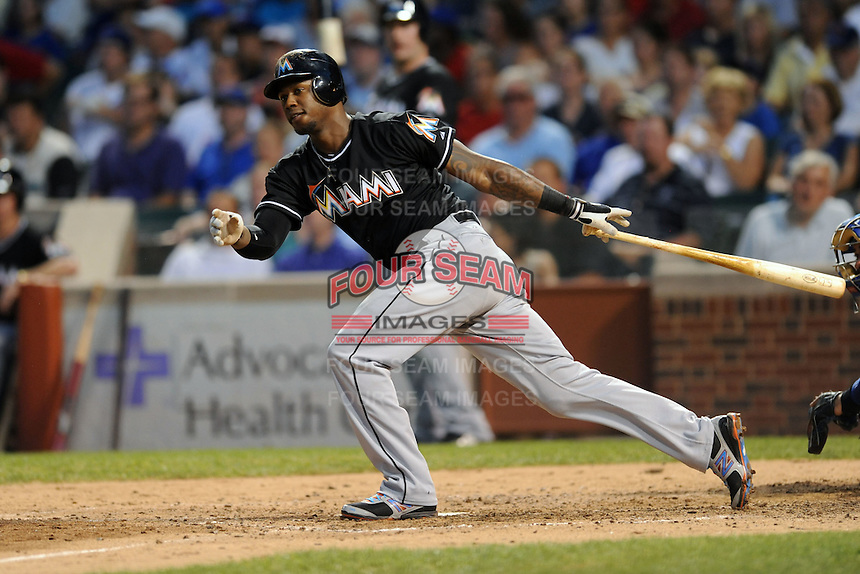 Miami Marlins third baseman Hanley Ramirez #2 swings at a pitch during a game against the Chicago Cubs at Wrigley Field on July 17, 2012 in Chicago, Illinois. The Marlins defeated the Cubs 9-5. (Tony Farlow/Four Seam Images).