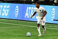ATLANTA, GA - SEPTEMBER 02: Juan Agudelo #12 of Inter Miami CF dribbles the ball during a game between Inter Miami CF and Atlanta United FC at Mercedes-Benz Stadium on September 02, 2020 in Atlanta, Georgia.