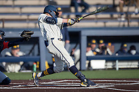 Michigan Wolverines shortstop Benjamin Sems (2) swings the bat during the NCAA baseball game against the Illinois Fighting Illini at Fisher Stadium on March 19, 2021 in Ann Arbor, Michigan. Illinois won the game 7-4. (Andrew Woolley/Four Seam Images)