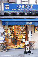 Shop selling local duck and goose specialities and Sign advertising Godard Foie Gras, Duck or Goose fat liver. Bergerac Dordogne France