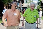 Billionaire investor Warren Buffett, right, and Microsoft Chairman and co-founder Bill Gates, left, at the Allen & Company Sun Valley Conference in Sun Valley, Idaho, Thursday, July 12, 2012. (AP Photo/Paul Sakuma)