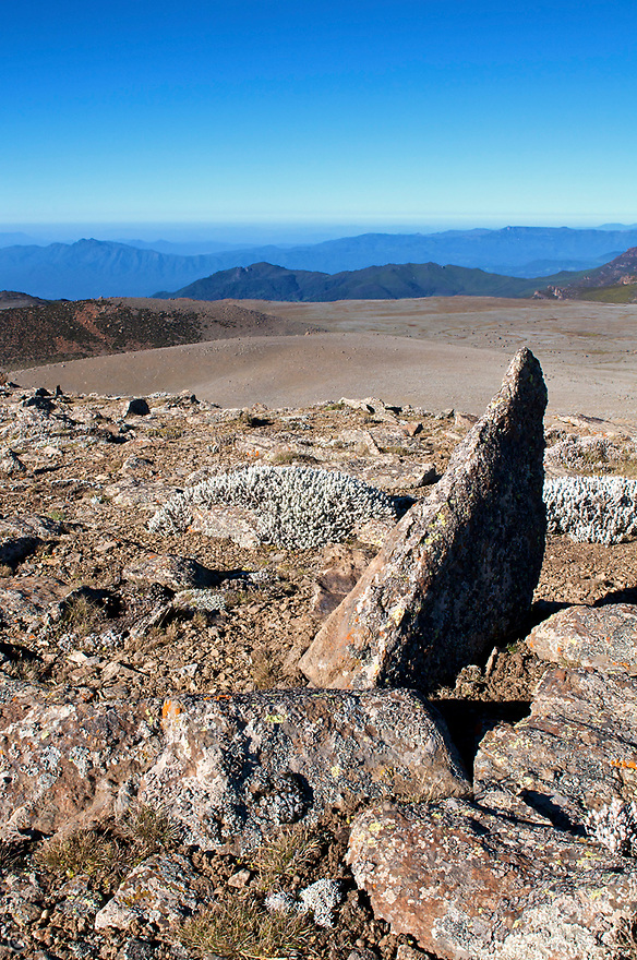 Barren jagged rocks cover the top of the second highest peak in Ethiopia and the highest in the Bale Mountains; Tullu Demtu. 4,377 m (14,360 ft)