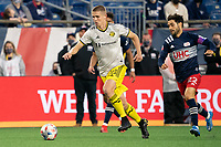 FOXBOROUGH, MA - MAY 16: Sebastian Berhalter #18 Columbus SC brings the ball forward during a game between Columbus SC and New England Revolution at Gillette Stadium on May 16, 2021 in Foxborough, Massachusetts.