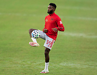 WASHINGTON, DC - SEPTEMBER 12: Mandela Egbo #39 of the New York Red Bulls warms up during a game between New York Red Bulls and D.C. United at Audi Field on September 12, 2020 in Washington, DC.