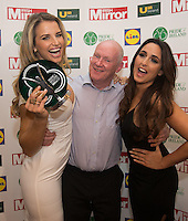 19/05/2015 <br /> Pat Fanning with Vogue Williams & Nadia Forde<br /> during the Irish mirror pride of Ireland awards at the mansion house, Dublin.<br /> Photo: gareth chaney Collins