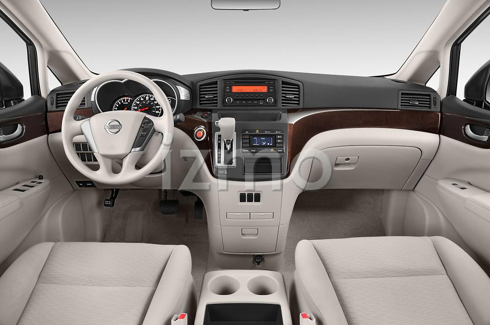 Stock photo of straight dashboard view of 2017 Nissan Quest S 5 Door Minivan Dashboard