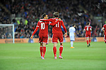 UEFA European Championship at Cardiff City Stadium - Wales v Cyprus : <br /> Gareth Bale congratulates Hal Robson Kanu on his first half goal for Wales.