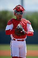 Florida Fire Frogs catcher William Contreras (27) during a Florida State League game against the Jupiter Hammerheads on April 11, 2019 at Osceola County Stadium in Kissimmee, Florida.  Jupiter defeated Florida 2-0.  (Mike Janes/Four Seam Images)