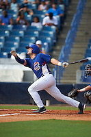 Hunter Oliver (8) of Cleveland High School in McDonald, Tennessee playing for the Chicago Cubs scout team during the East Coast Pro Showcase on July 30, 2015 at George M. Steinbrenner Field in Tampa, Florida.  (Mike Janes/Four Seam Images)
