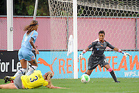 Philadelphia Independence goalkeeper Karina LeBlanc (23) goes for a lose ball. Sky Blue FC defeated the Philadelphia Independence 1-0 during a Women's Professional Soccer (WPS) match at Yurcak Field in Piscataway, NJ, on August 22, 2010.