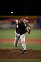 Salem-Keizer Volcanoes relief pitcher Matt Frisbee (45) delivers a pitch during a Northwest League game against the Hillsboro Hops at Ron Tonkin Field on September 1, 2018 in Hillsboro, Oregon. The Salem-Keizer Volcanoes defeated the Hillsboro Hops by a score of 3-1. (Zachary Lucy/Four Seam Images)