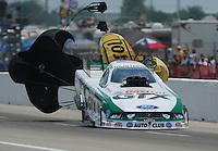 May 1, 2011; Baytown, TX, USA: NHRA funny car driver Mike Neff during the Spring Nationals at Royal Purple Raceway. Mandatory Credit: Mark J. Rebilas-